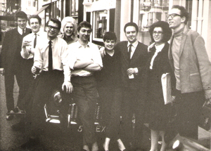 Blues Unlimited team, 1964: l-r, Neil Paterson, Simon Napier, JJB, Graham Ackers, Rose & Mike Leadbitter, Anna & Dave Williams.